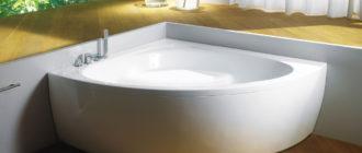 ванна из акрила с расположеннием в углу у