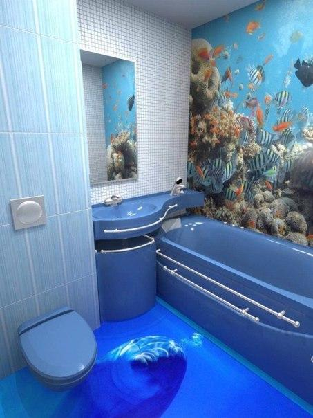 3 d пол в ванной комнате.