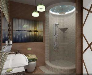 ванная с душевой кабиной в японском стиле