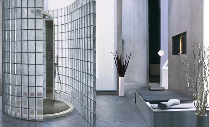 душевая перегородка из стеклоблока для ванной