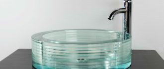 Стеклянная раковина для ванной