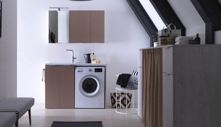 тумба под стиральную машину с раковиной на кухне
